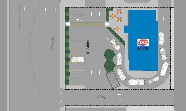Architect rendering of Dairy Queen Grill and Chill on 898 Victoria Street, Trail, B.C.