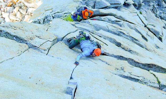 Cam Shute rock climbing.