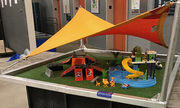 A miniature water park with colourful shades on top; this is what they brought to their Dragons' Den appearance.