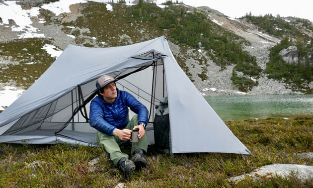 A lightweight backpacking tent  made by Durston Gear in Golden, B.C.
