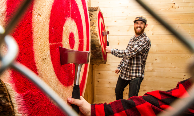 Dustin Roskam is the owner of Peak Axe Throwing Inc. in downtown Revelstoke, B.C.