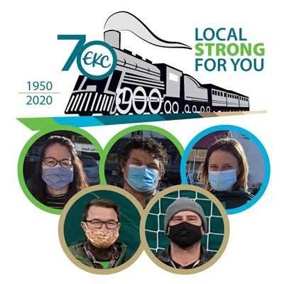 Community members and 70th Anniversary EKC graphic.
