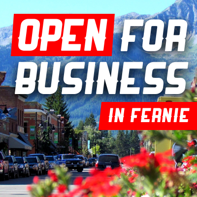 Downtown Fernie with mountains in the background.