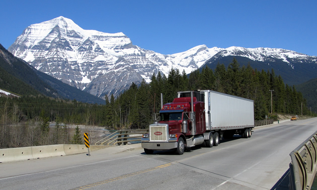 Trucker crossing bridge in B.C., Highway 16, (Robson River Bridge),  and uses ELD.