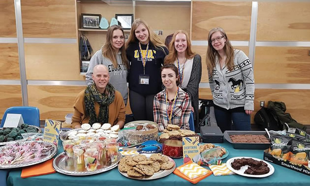 East Kootenay Teacher Education program students at College of the Rockies' Cranbrook campus host bake sales as one way to raise funds for local schools. Pictured (back row l-r Martha Palmer, Nicole Hare, Josie Ruoss, EdSA President, Erin Kaldstad. Seated l-r Brooke Leyenhorst, Carly Trinder)