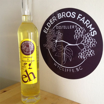A bottle of Elderflower and Honey Schapps from the Elder Bros. Farms & Distillery.