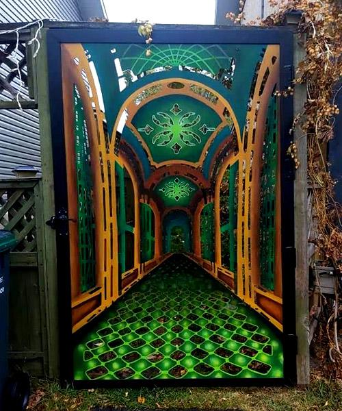 Decorative painted metal gate.