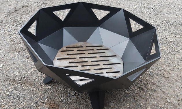 Black, octagonal-shaped fire pit.