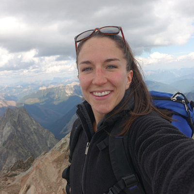 College of the Rockies Bachelor of Science in Nursing student Emily East, seen here atop Mount Fisher,  is one of almost 100 recipients of Columbia Basin Trust Bursaries.