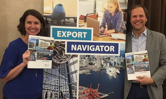 Andrea Wilkey and Michael Hoher promote  the benefits of Export Navigator.
