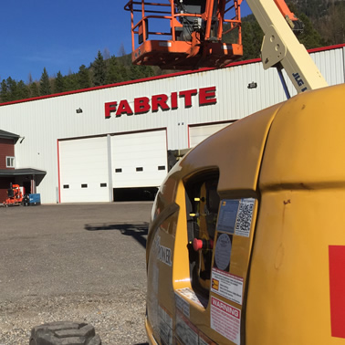 Exterior view of Fab-Rite building in Sparwood, BC
