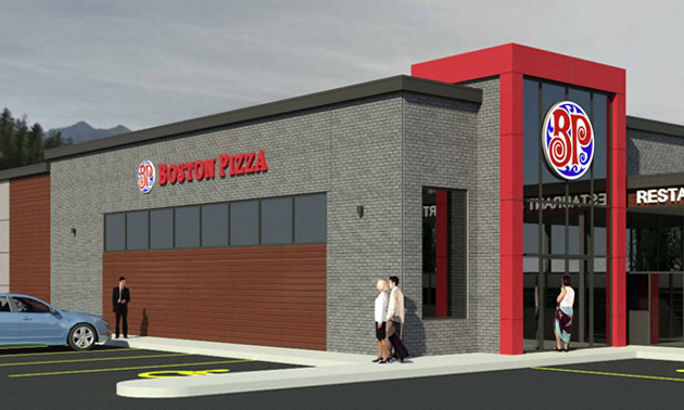 Artist's rendition of Boston Pizza franchise.