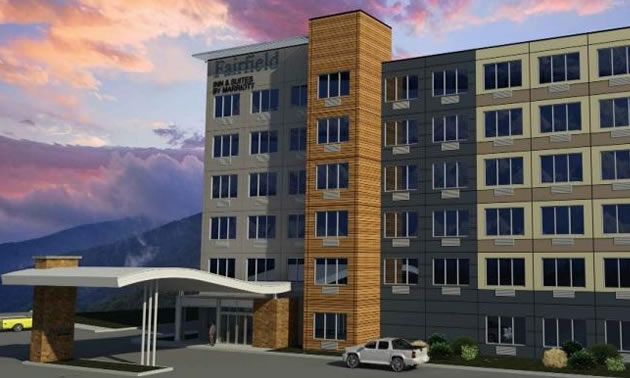 An artist's rendition of the proposed Fairfield Inn development in Revelstoke.