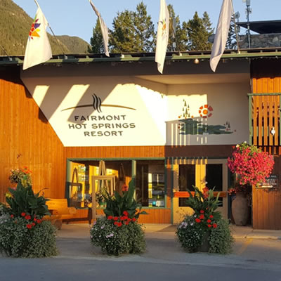 Main entrance at the Fairmont Hot Springs Resort.