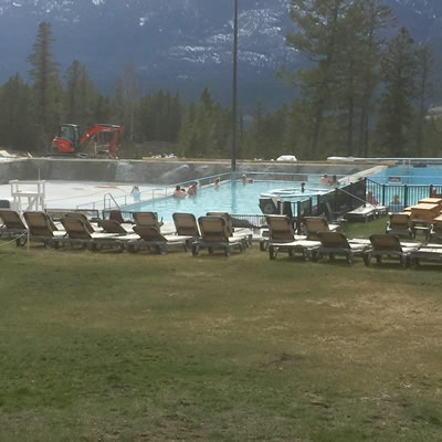Renovations on the famous hot spring pools are underway with new concrete finishing.