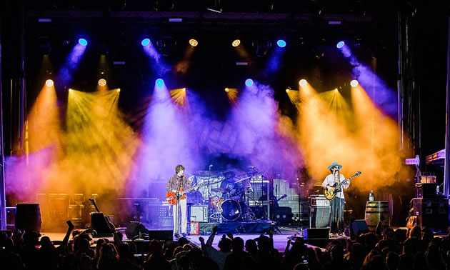 Performers on stage at FarmJam 2019 - nighttime shot, stage lit up with purple and yellow lights.