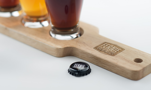 A sample paddle of beers by the Fernie Brewing Company in Fernie, B.C.