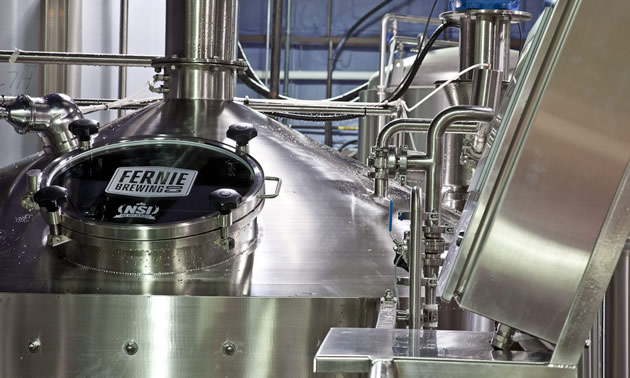 Equipment in the new brew house at Fernie Brewing Co.