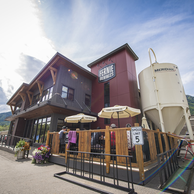 Fernie Brewing Company occupies an attractive, two-storey purpose-built facility at 26 Manitou Road in Fernie, B.C.