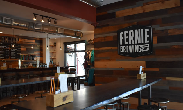 Newly renovated Tasting Room at the Fernie Brewing Company.