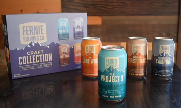 Picture of newly-rebranded beer cans.