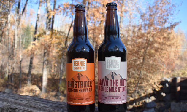Picture of two bottles of Fernie Brewing Company beer.