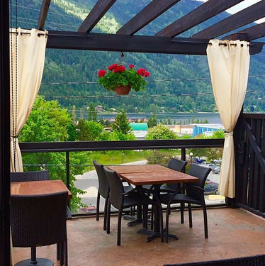 The Patio overlooking Kootenay Lake at Finley's Bar & Grill.