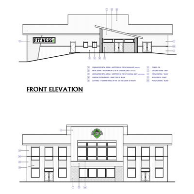 Graphic of Fitness Inc. construction plans.