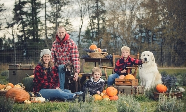 Owners of Columbia Valley Lavender in October family picture.