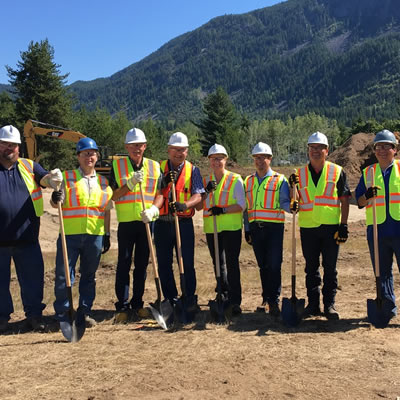 FortisBC management, local dignitaries, civil officials and representatives from area First Nations groups were all on hand at the offical sod-turning ceremony for the FortisBC Kootenay Operation Centre.