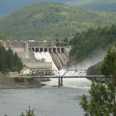View of the Waneta Dam.