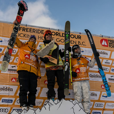 Freeride World Tour medalists show some joy atop the podium.
