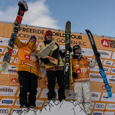 Freeride World Tour medalists show some joy atop the podium.