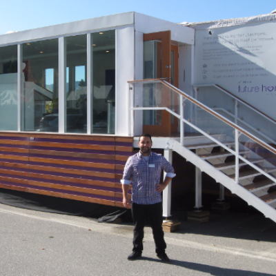 Telus brand ambassador Daniel Gonzalez shared information about the Future Home, which was parked in the Kimberley Aquatic Centre parking lot