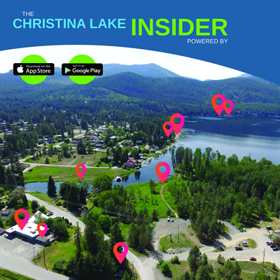 Aerial view showing many points of interests in the area of Christina Lake