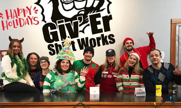 Staff Christmas photo for Giv'Er Shirt Works