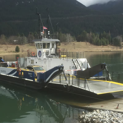 The new Glade Ferry, built by Waterbridge Steel in Nakusp.