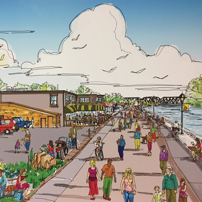 This is an artist's rendering of the proposed Kicking Horse River Dike Improvement Project in Golden, B.C.