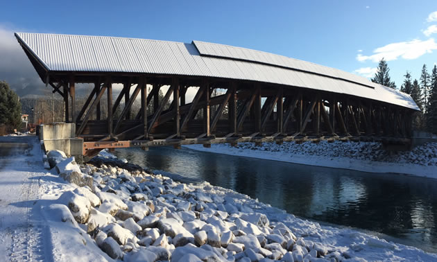 The Kicking Horse River pedestrian bridge has undergone a significant restoration to replace rotting timbers and prevent further water damage.