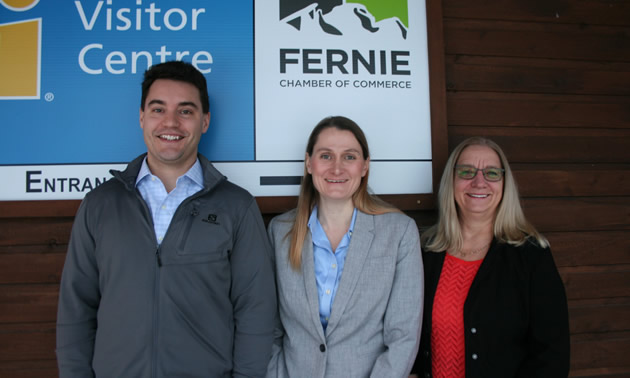 (L to R) Graeme Nunn (Rockies Law), president, Fernie chamber board; Patty Vadnais, Fernie chamber executive director; Anita Palmer (College of the Rockies, Fernie campus), Fernie chamber board vice-president