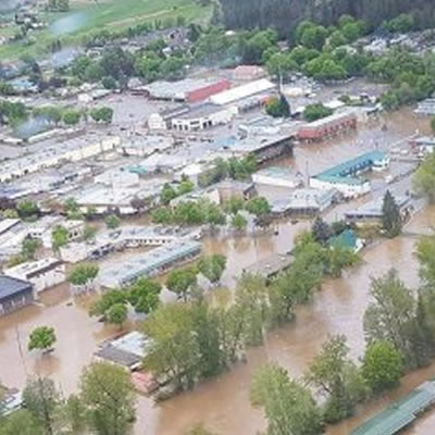 Aerial view of the recent Grand Forks flooding.