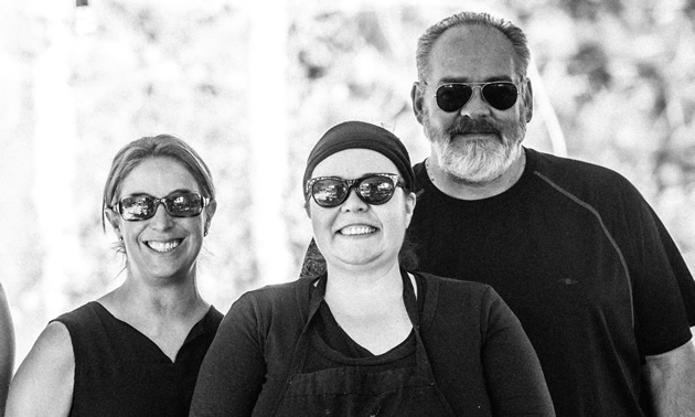 Tylene Turner, Jaime Gordon and Duane Funk are the powers behind Green Door Catering in Kimberley, B.C.