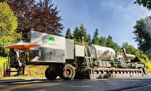 Green Roads Recycling asphalt machine.