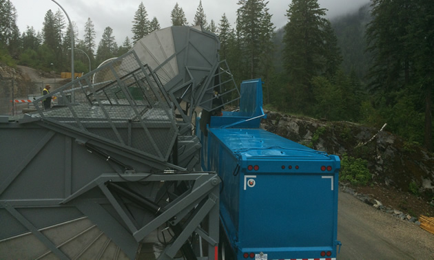 Garbage transfer equipment at the new Grohman Narrows Transfer Station in Nelson, B.C.