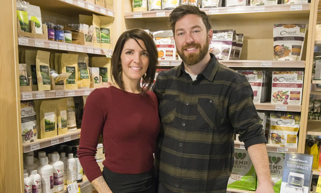 Dana DiPonio and Kevin Hagel are shown in a health food store. They are co-owners of Nelson Naturals, producing a natural toothpaste.