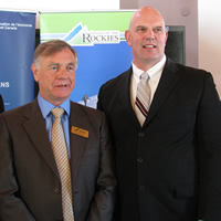David Walls (L), president, College of the Rockies, and David Wilks, MP Kootenay Columbia