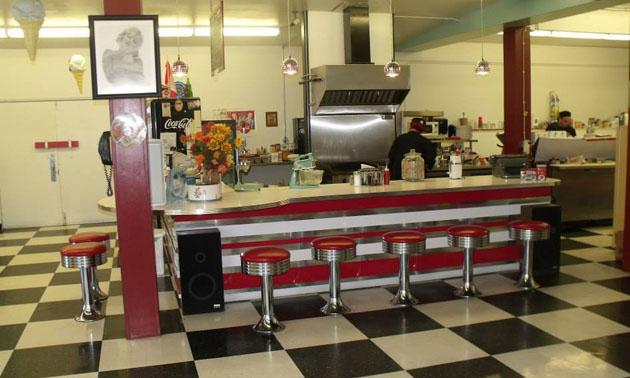 Interior view of Happy Days restaurant.