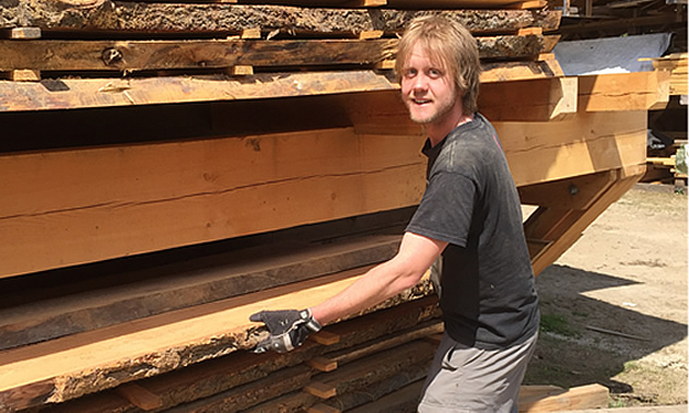 An employee at Harrop-Proctor Forest Products busy sorting freshly cut lumber.