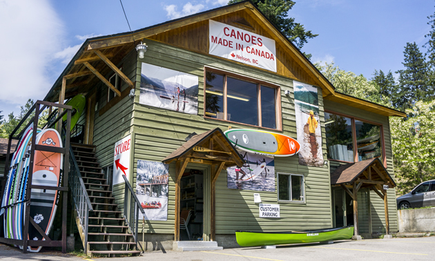 Hellman Canoe & Kayak occupies a rustic building on the lakefront in Nelson