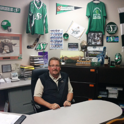 Collin Johnston manages Cranbrook's Heritage Inn. He's quick to point out his Saskatchewan Roughrider memorabilia, which you'll see if you step inside his office.